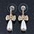 Delicate Teen Crystal, Simulated Pearl 'Bow' Stud Earrings In Gold Plating - 3cm Length