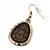 Vintage 'Cracked Effect' Diamante Teardrop Earrings In Burn Gold - 4.5cm Length - view 4