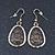 Vintage 'Cracked Effect' Diamante Teardrop Earrings In Burn Gold - 4.5cm Length - view 2