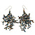 Boho Transparent/ Hematite/ Brown Glass Bead Drop Earrings In Silver Plating - 7cm Length