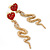 Exquisite Snake With Red Crystal Heart Drop Earrings In Gold Plating - 7cm Length - view 3