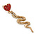 Exquisite Snake With Red Crystal Heart Drop Earrings In Gold Plating - 7cm Length - view 4