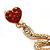 Exquisite Snake With Red Crystal Heart Drop Earrings In Gold Plating - 7cm Length - view 5