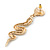 Exquisite Snake With Red Crystal Heart Drop Earrings In Gold Plating - 7cm Length - view 6