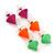 3 Pairs Neon Pink, Neon Orange and Neon Green Stud Earring Set - 10mm Diameter