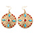 Red Crystal Round, Hammered With Light Blue Acrylic Bead Drop Earrings In Gold Plating - 6.5cm Length - view 5