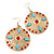 Red Crystal Round, Hammered With Light Blue Acrylic Bead Drop Earrings In Gold Plating - 6.5cm Length