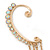 1 Pc AB Crystal Ear Cuff With Comb In Gold Plating - Only For The Right Ear - view 3
