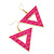 Groovy Neon Pink Spiky Triangular Drop Earrings In Gold Plating - 5.5cm Length