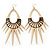 Oversized Spike Oval Hoop Earrings With Brown Cotton Cord In Gold Plating - 13cm Length - view 3