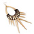 Oversized Spike Oval Hoop Earrings With Brown Cotton Cord In Gold Plating - 13cm Length - view 4