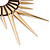 Oversized Spike Oval Hoop Earrings With Brown Cotton Cord In Gold Plating - 13cm Length - view 5