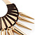 Oversized Spike Oval Hoop Earrings With Brown Cotton Cord In Gold Plating - 13cm Length - view 6