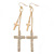 Long Pave Set Crystal Double Cross Chain Drop Earrings In Gold Plating - 11.5cm Length