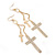 Long Pave Set Crystal Double Cross Chain Drop Earrings In Gold Plating - 11.5cm Length - view 2