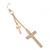 Long Pave Set Crystal Double Cross Chain Drop Earrings In Gold Plating - 11.5cm Length - view 4
