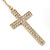 Long Pave Set Crystal Double Cross Chain Drop Earrings In Gold Plating - 11.5cm Length - view 5