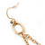 Long Pave Set Crystal Double Cross Chain Drop Earrings In Gold Plating - 11.5cm Length - view 7