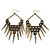 Oversized Vintage Spike Hammered Drop Earrings In Bronze Tone - 10cm Length - view 3