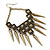 Oversized Vintage Spike Hammered Drop Earrings In Bronze Tone - 10cm Length - view 5