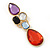 Multicoloured Glass Stone Linear Drop Earrings In Gold Plating - 73mm Length - view 2