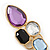 Multicoloured Glass Stone Linear Drop Earrings In Gold Plating - 73mm Length - view 3