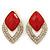 Diamante Red Acrylic Bead Diamond Shape Stud Earrings In Gold Plating - 37mm Length