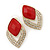 Diamante Red Acrylic Bead Diamond Shape Stud Earrings In Gold Plating - 37mm Length - view 3