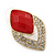 Diamante Red Acrylic Bead Diamond Shape Stud Earrings In Gold Plating - 37mm Length - view 4