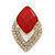 Diamante Red Acrylic Bead Diamond Shape Stud Earrings In Gold Plating - 37mm Length - view 5