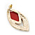 Diamante Red Acrylic Bead Diamond Shape Stud Earrings In Gold Plating - 37mm Length - view 6