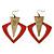 Oversized Red Enamel Geometric Drop Earrings In Burn Gold Metal - 8cm Length - view 2