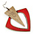 Oversized Red Enamel Geometric Drop Earrings In Burn Gold Metal - 8cm Length - view 3