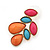 Multicoloured Acrylic Bead Cluster Stud Earrings In Gold Plating - 32mm Length - view 4