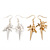 2 pairs Gold and Silver Tone Cross and Spike Dangle Earring Set - 55mm Drop - view 2