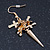 2 pairs Gold and Silver Tone Cross and Spike Dangle Earring Set - 55mm Drop - view 7