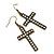 Burn Gold Crystal 'Cross' Drop Earrings - 60mm Length