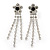 Prom Clear Crystal Daisy With Tassel Dangle Earrings In Rhodium Plating - 60mm Length - view 2