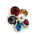 Multicoloured Crystal 'Daisy' Stud Earrings In Rhodium Plating - 20mm Diameter - view 2