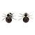 Small Deep Purple/ Black Crystal 'Spider' Stud Earrings In Silver Plating - 12mm Across