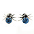 Small Light Blue/ Black Crystal 'Spider' Stud Earrings In Silver Plating - 12mm Across - view 3