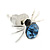 Small Light Blue/ Black Crystal 'Spider' Stud Earrings In Silver Plating - 12mm Across - view 5