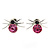 Small Fuchsia/ Black Crystal 'Spider' Stud Earrings In Silver Plating - 12mm Across