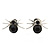 Small Black Crystal 'Spider' Stud Earrings In Silver Plating - 12mm Across
