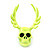 Teen Skull and Antlers Stud Earrings in Neon Yellow - 3.5cm in Height - view 2