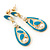 Teal Enamel White Simulated Pearl Teardrop Earring In Gold Plating - 45mm Length - view 2