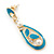 Teal Enamel White Simulated Pearl Teardrop Earring In Gold Plating - 45mm Length - view 3