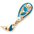 Teal Enamel White Simulated Pearl Teardrop Earring In Gold Plating - 45mm Length - view 4