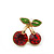 Children's/ Teen's / Kid's Small Red Crystal 'Double Cherry' Stud Earrings In Gold Plating - 10mm Length - view 2