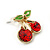 Children's/ Teen's / Kid's Small Red Crystal 'Double Cherry' Stud Earrings In Gold Plating - 10mm Length - view 3
